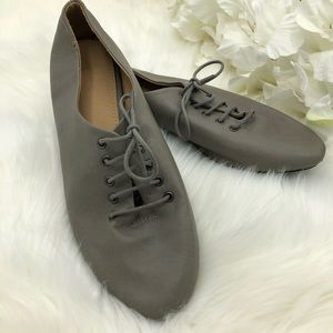 Designed by Ollio Grey Lace-up flats